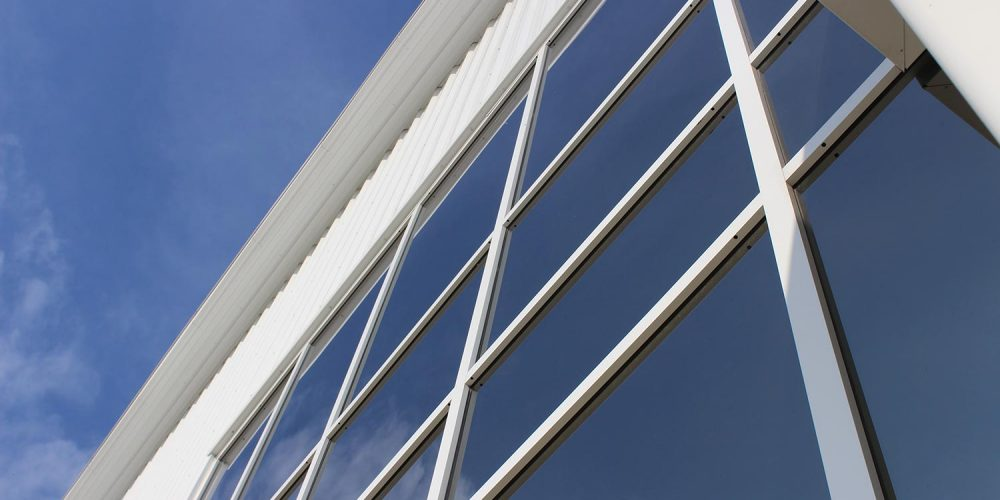 Close up of exterior window walls at Becks Airport