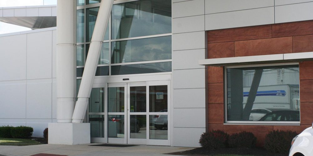 View of glass front entry of Hawker Beechcraft building